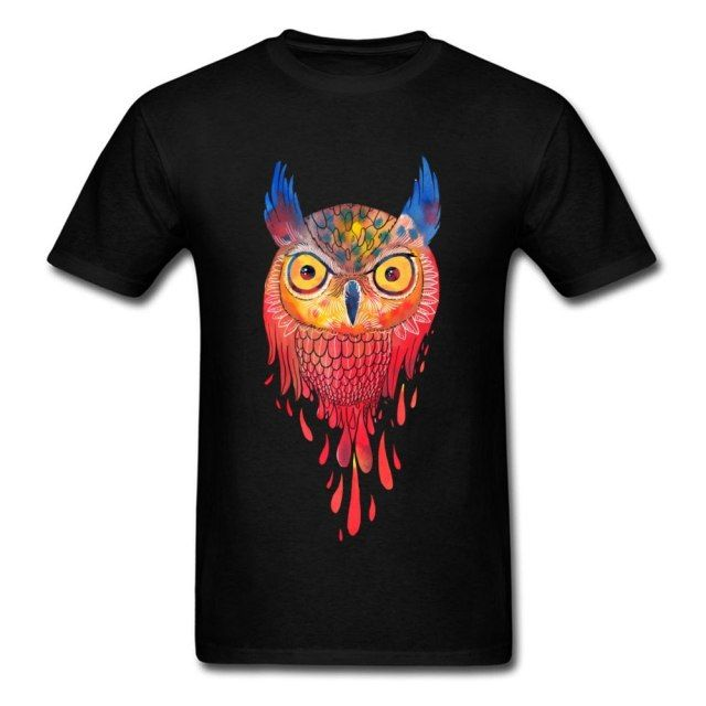 New Arrival Owl Watercolor Cartoon T Shirt Men Black Tee Shirt