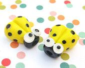 SALE 2 Glass Ladybug Beads 14mm Beads Red by purplecatjewels