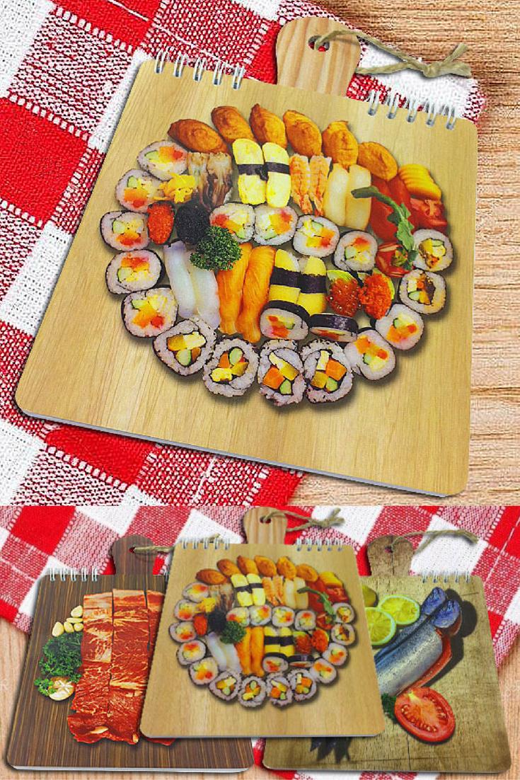 $3 Блокнот для рецептов, 40 листов, перекидной на металлической пружине «Суши» | Cuisine recipe notepad | Cook note