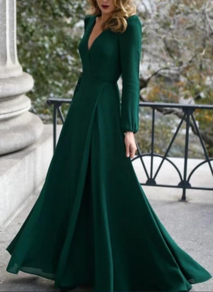 A-Linie Partykleid mit Schlitz, tiefem V-Ausschnitt Abiballkleid, Partykleid mit langen Ärmeln   – Green ball gown