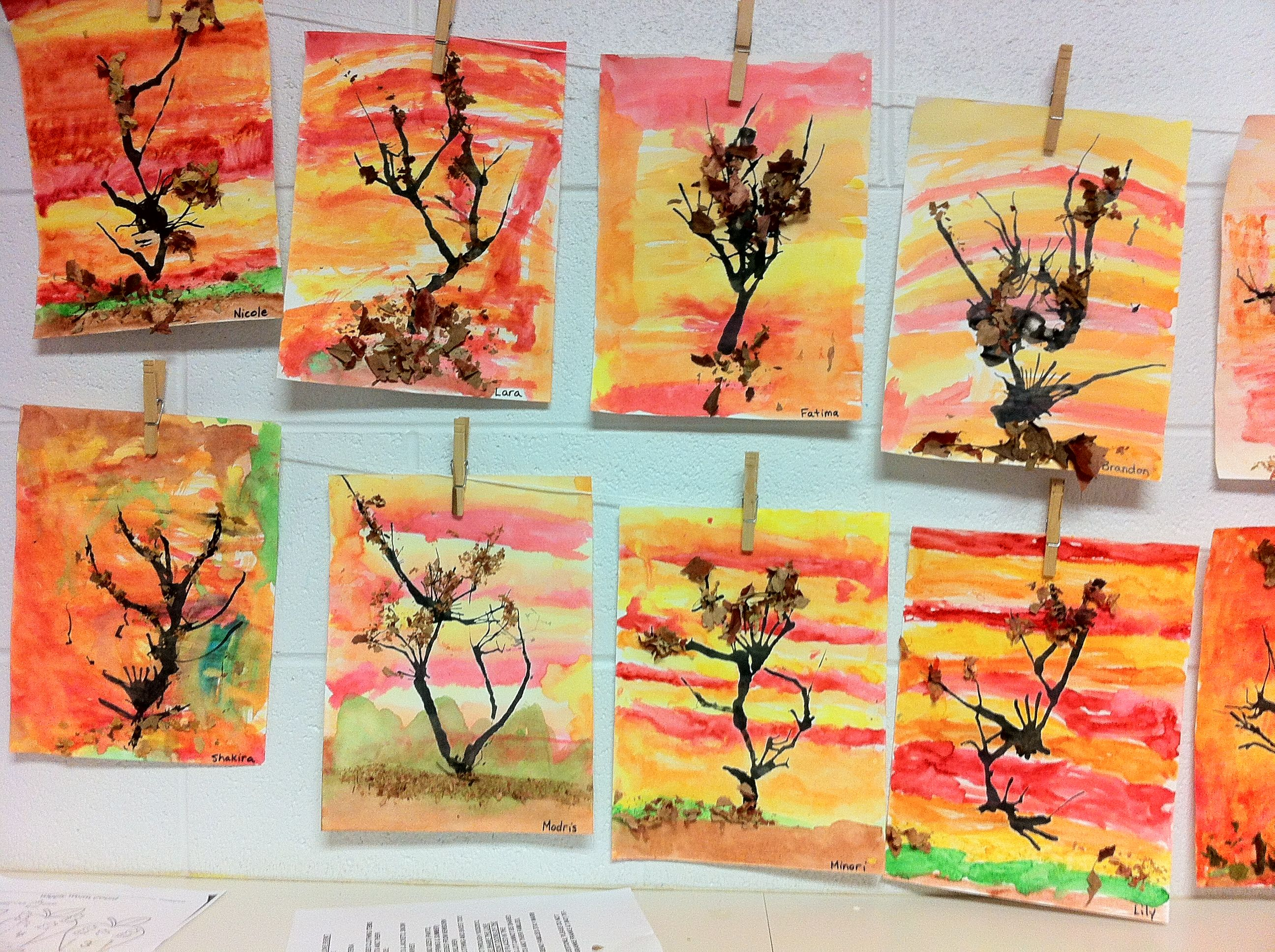 Fall Art With Kindergarten Made By Watercolor Painting Background