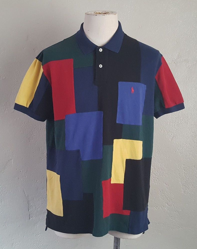 Multi Patchwork ~ Polo Block Ralph Lauren Vtg 90s Shirt Color n0yNwmPv8O