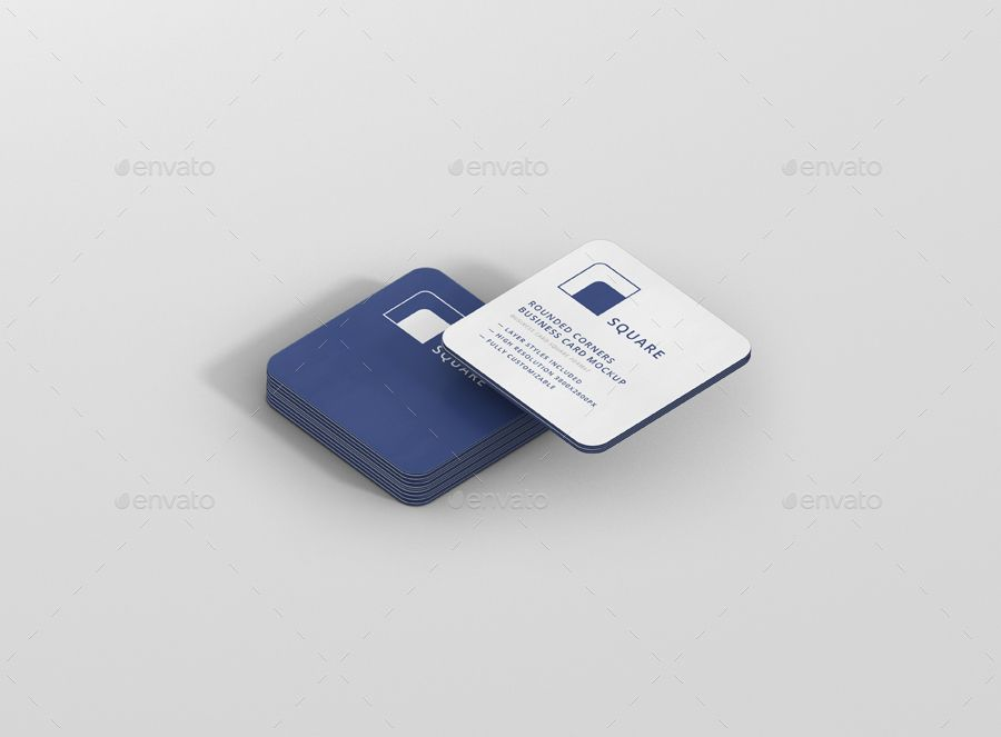 Business Card Mockup Stack Square Round Corners With Images