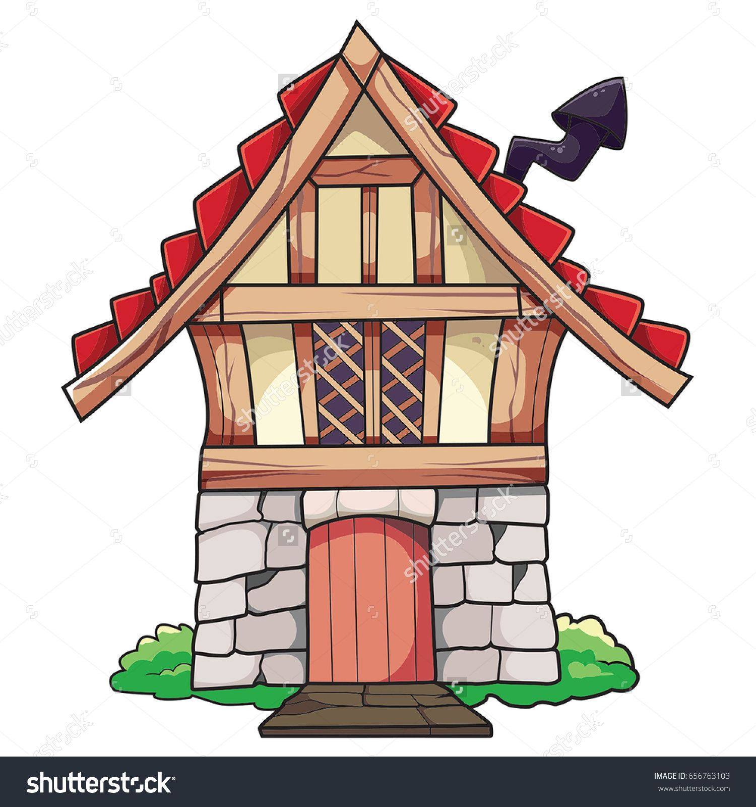 Old Cartoon Small House With Chimney Vector Illustration For Sale Cartoon House Old Cartoons Small House