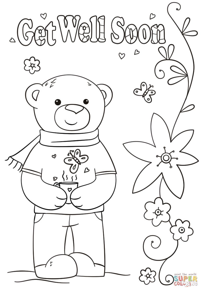Funny Get Well Soon Coloring Page Free Printable Coloring Intended For Get Wel In 2020 Printable Coloring Pages Free Printable Coloring Free Printable Coloring Pages