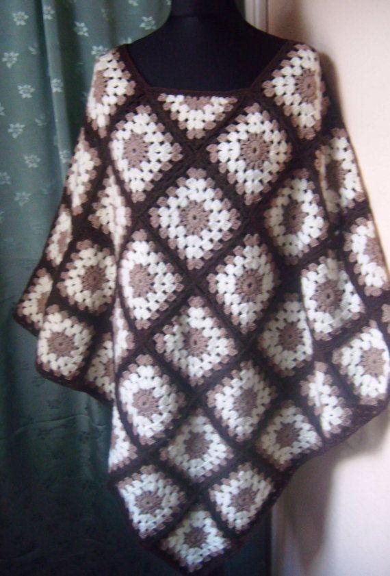 Crochet Poncho/ Granny Squares/ Handmade/ Premium by EsDacelle ...