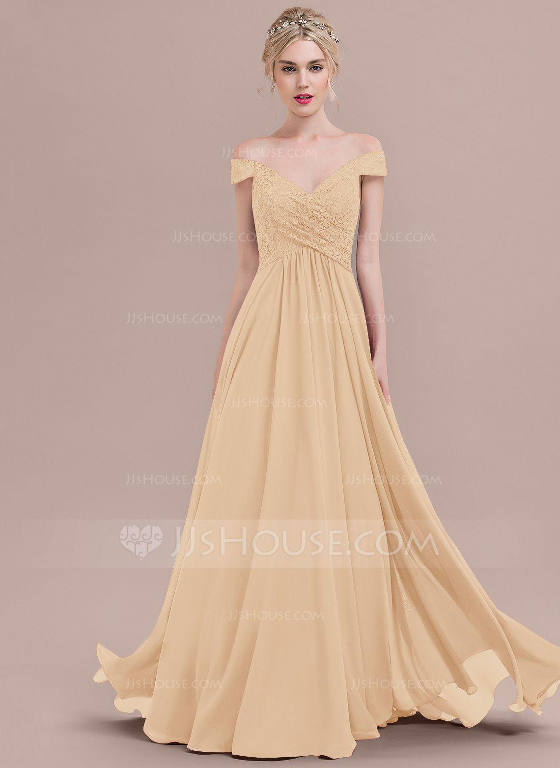 6d4fe83ea78 A-Line Princess Off-the-Shoulder Floor-Length Chiffon Lace Bridesmaid