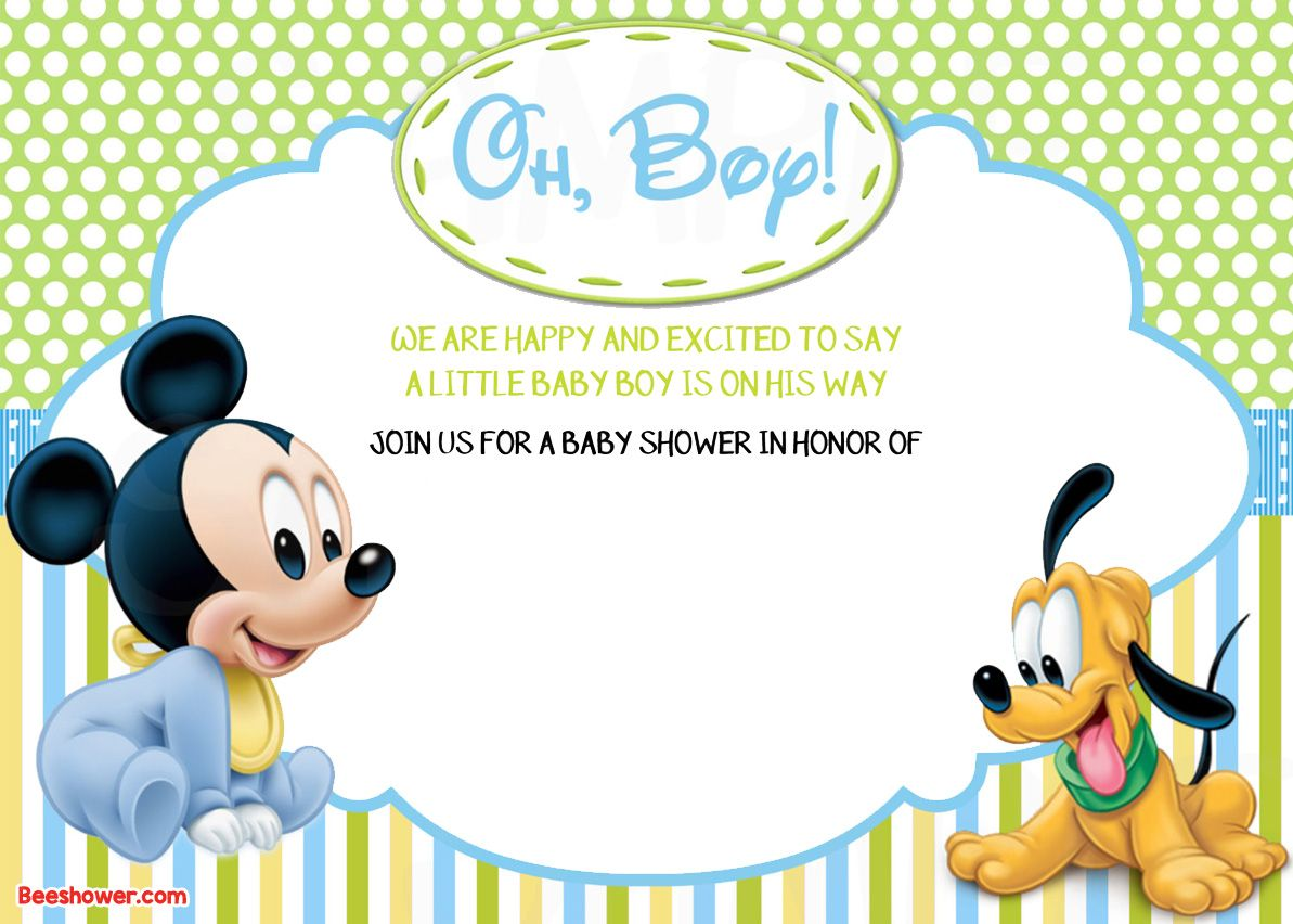 Free NEW FREE Printable Mickey Mouse Baby Shower Invitation - Free disney baby shower invitation templates