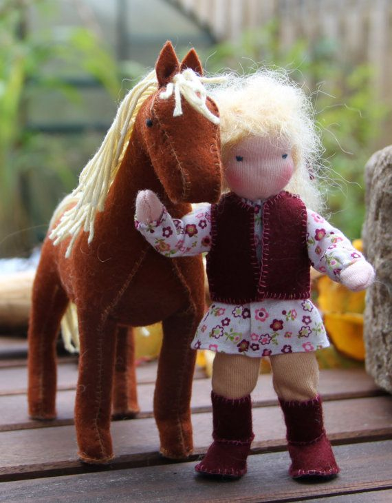 Custom order : Bendy dollhouse doll Waldorf style girl with her horse