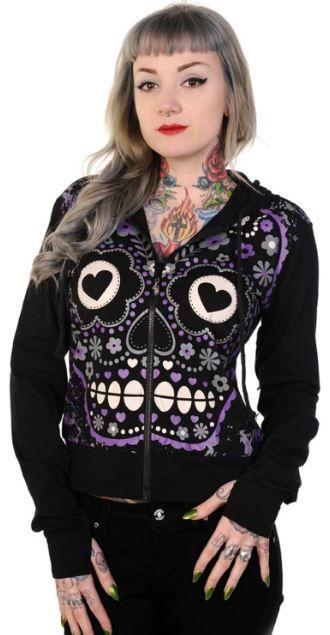 Banned Apparel Purple Sugar Skull Hoodie 59.95 Sizes S, M