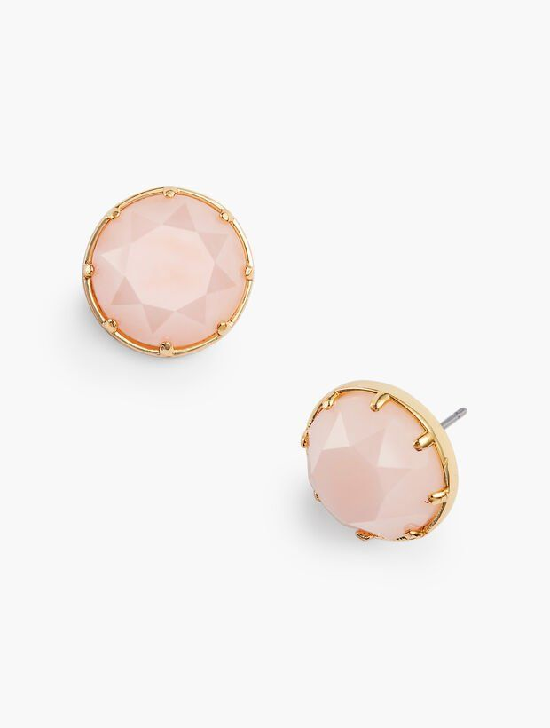 Details Pretty pink studs rimmed in gold. Pair with our Rock Candy Necklace. Features Closure: Post #pinkrims
