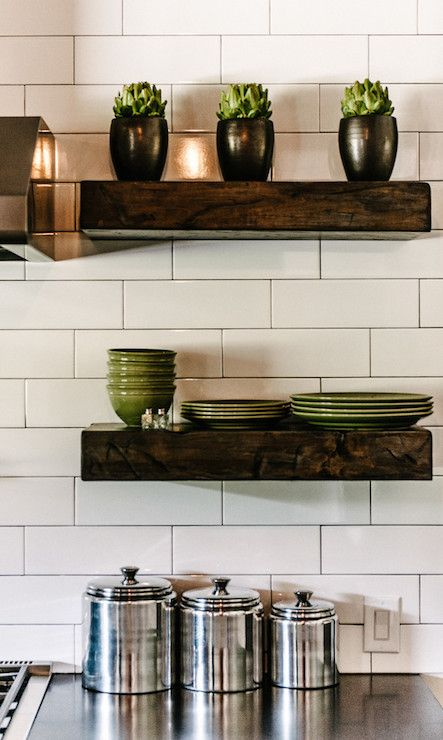 Stainless Floating Shelves Fair Kitchen With Stainless Steel Range Hood Flankedchunky Wood Design Inspiration