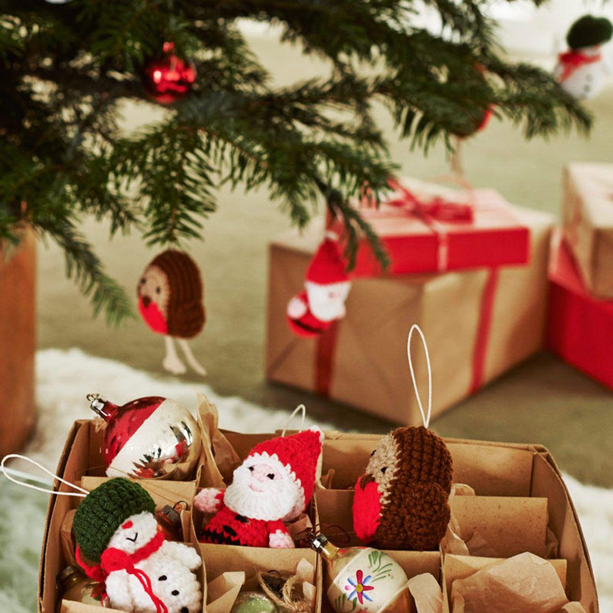 Decorate the christmas tree fa la la la - Set Of 3 Santa Snowman Robin Crocheted Decorations Christmas Decorations Cathkidston
