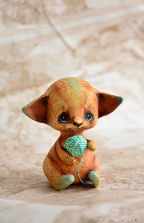 Котенок с клубком, елочная игрушка из папье маше, кот на ...