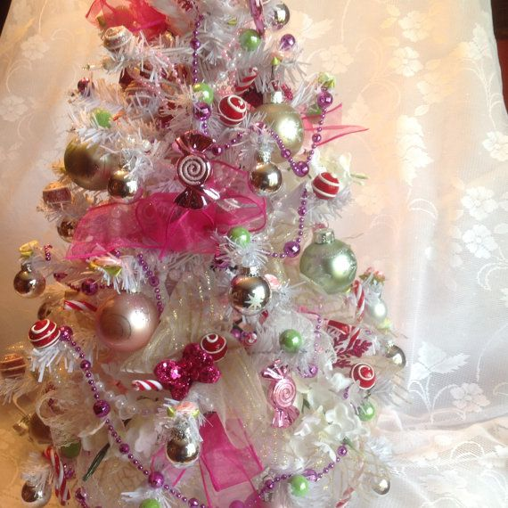 Lighted White And Pink Tabletop Tree, Mini Christmas Tree, Pre Lit Christmas  Tree, Miniature Christmas Tree