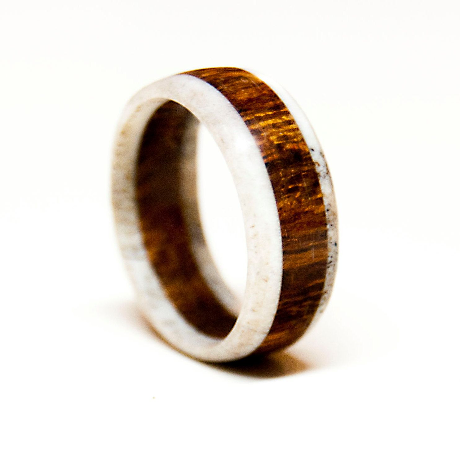 antler and ironwood ring wood wedding band by stagheaddesigns