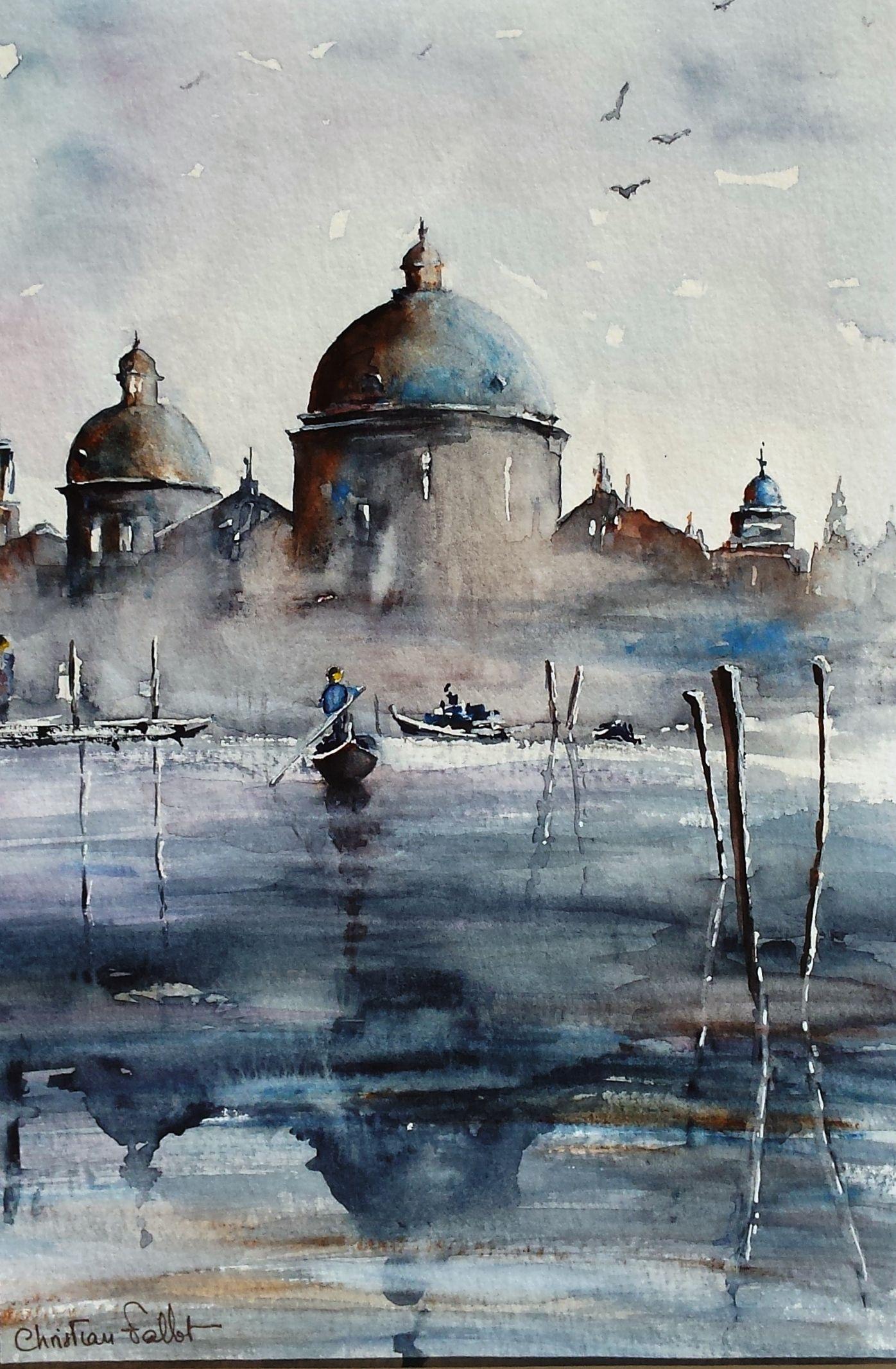 Christian Fallot Aquarelle Venise Le Grand Canal 1 Peinture