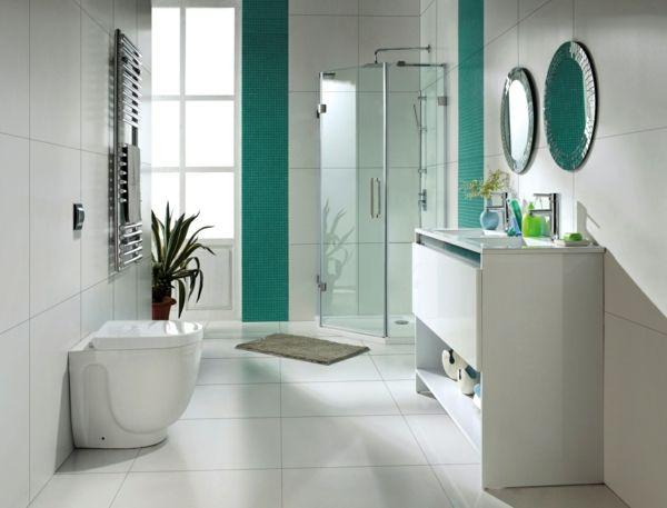 Badezimmer Mit Weißen Und Türkis Fliesen Gestalten