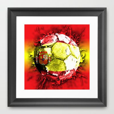 football  spain Framed Art Print by seb mcnulty - $32.00
