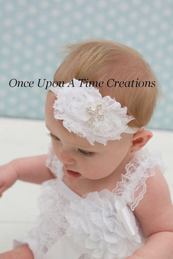 Baby Girl Cream//Ivory Christening Headband Baptism Wedding Bow Cross Hairband