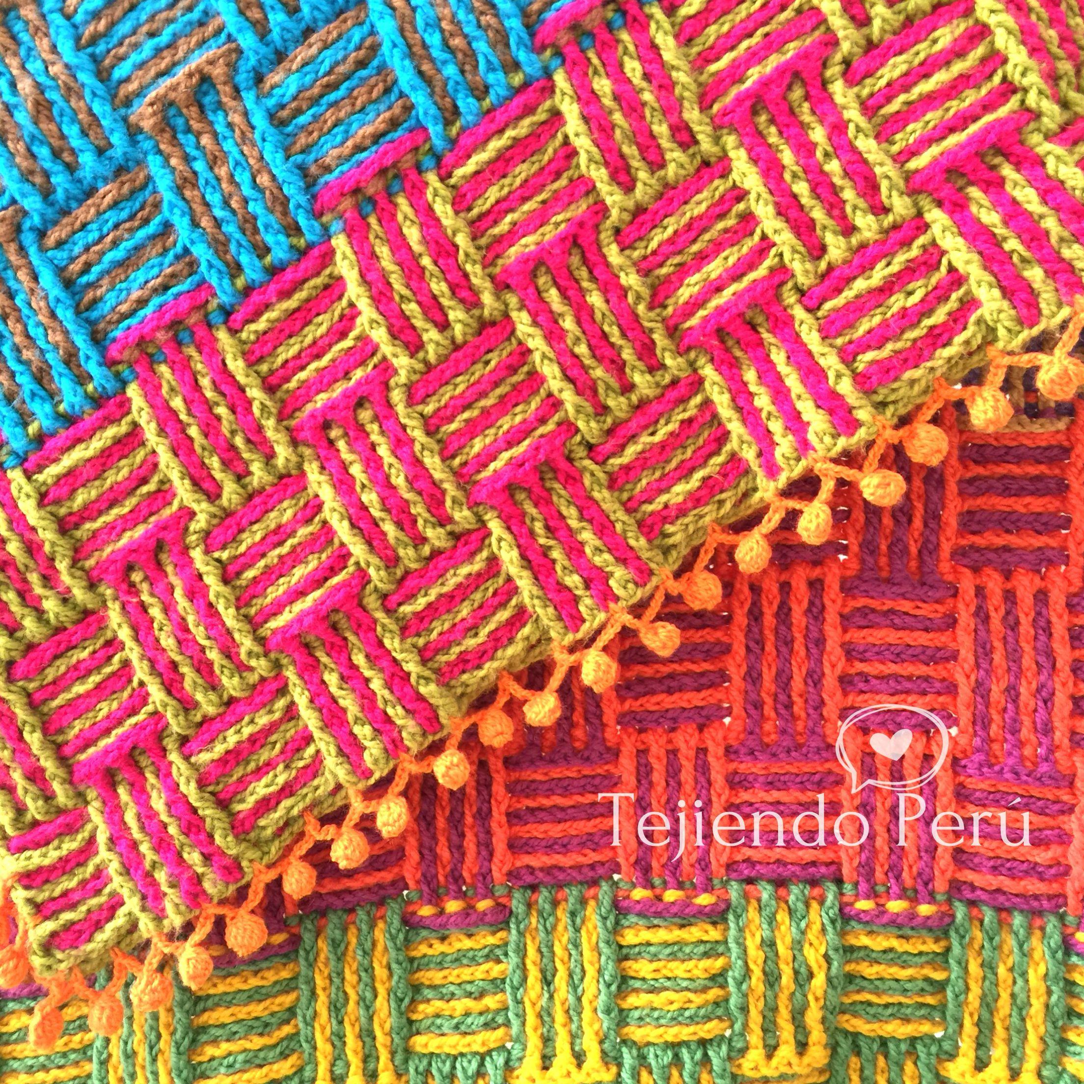 Crochet manta o cobija tejida en el punto cesta de for Colchas de punto de lana