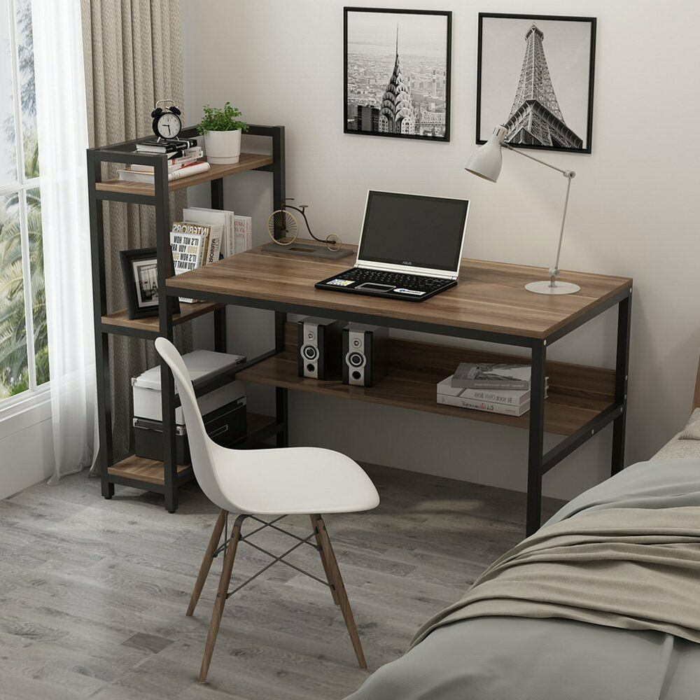 59 l computer desk with 4 tier storage shelves home office table rh pinterest com