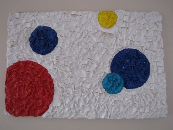 Made completly out of Duck Tape. Colors used: White, Blue, Aqua, Red and Yellow. 25 X 37 canvas.