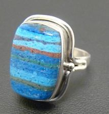 BLUE GENUINE GEMSTONE OPAQUE ARTISAN RING 7.1g STERLING SILVER 925 SIZE 8.25