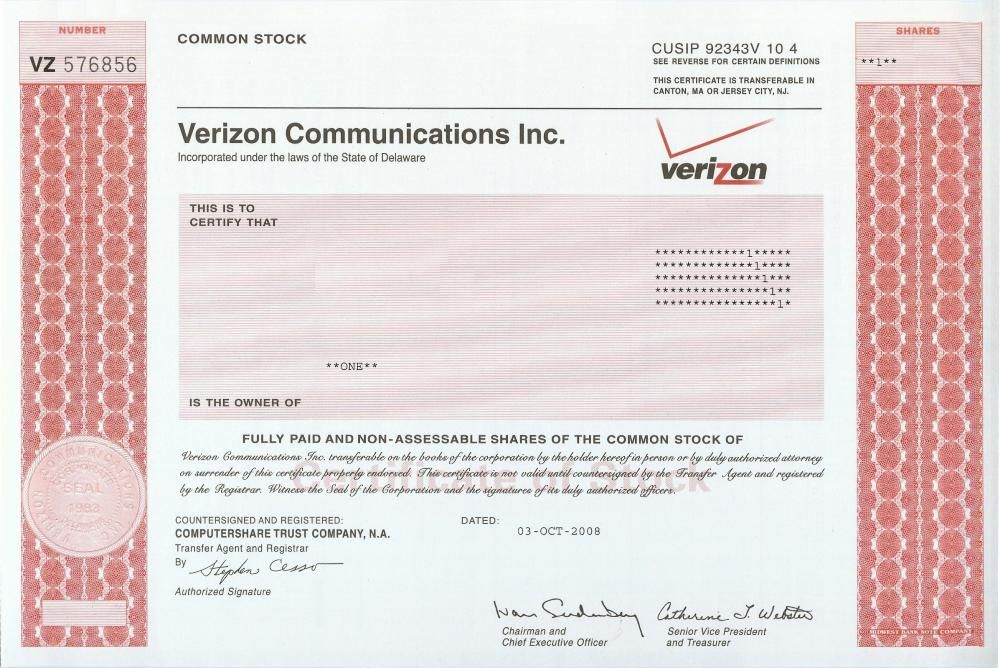 Pin By Doug Douglas On Stock Certificates In 2020 Stock Certificates Verizon Communications Common Stock