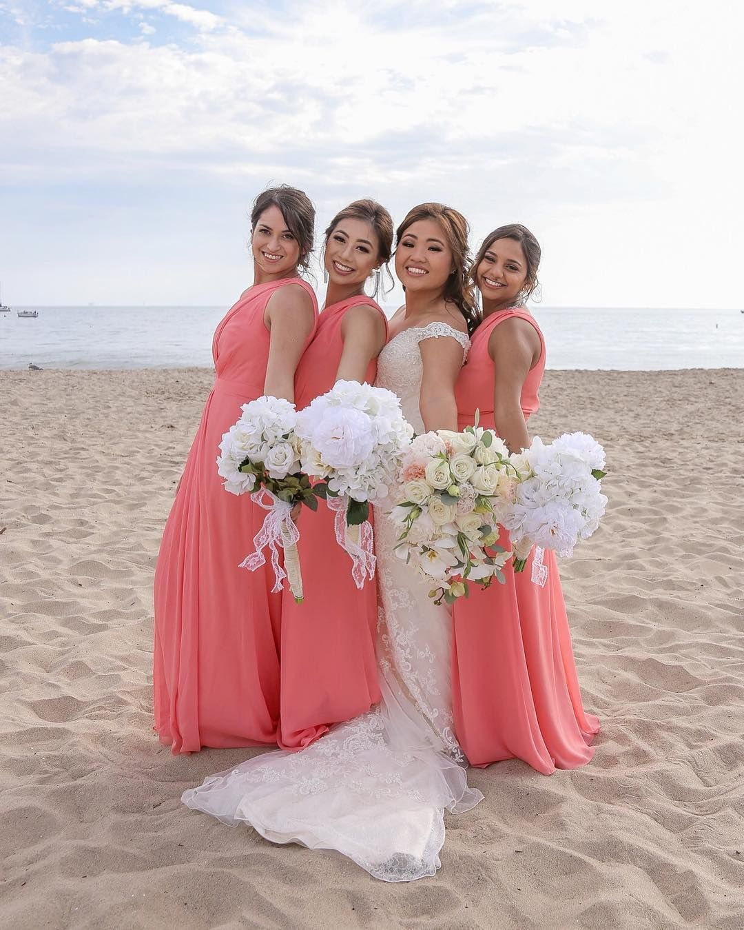 For the beach bridal party, coral one shoulder long David
