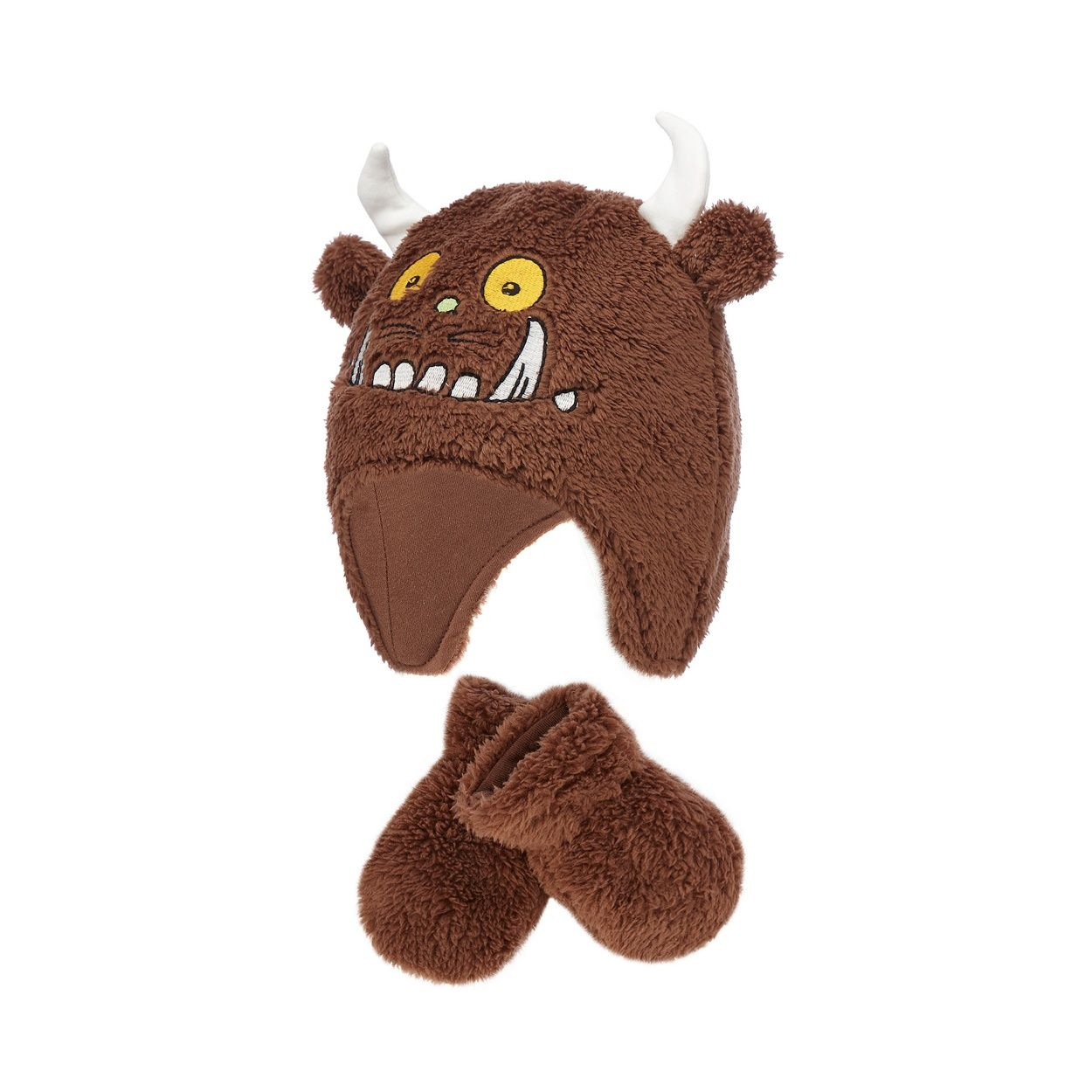 This Gruffalo hat and mittens set is the perfect gift for a little adventurer. Its super-soft faux fur design is complete with horns, claws and a Gruffalo applique.