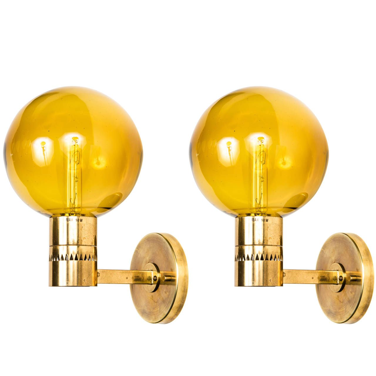 Pair of Hans-Agne Jakobsson Sconces | Amber glass, Lights and Walls