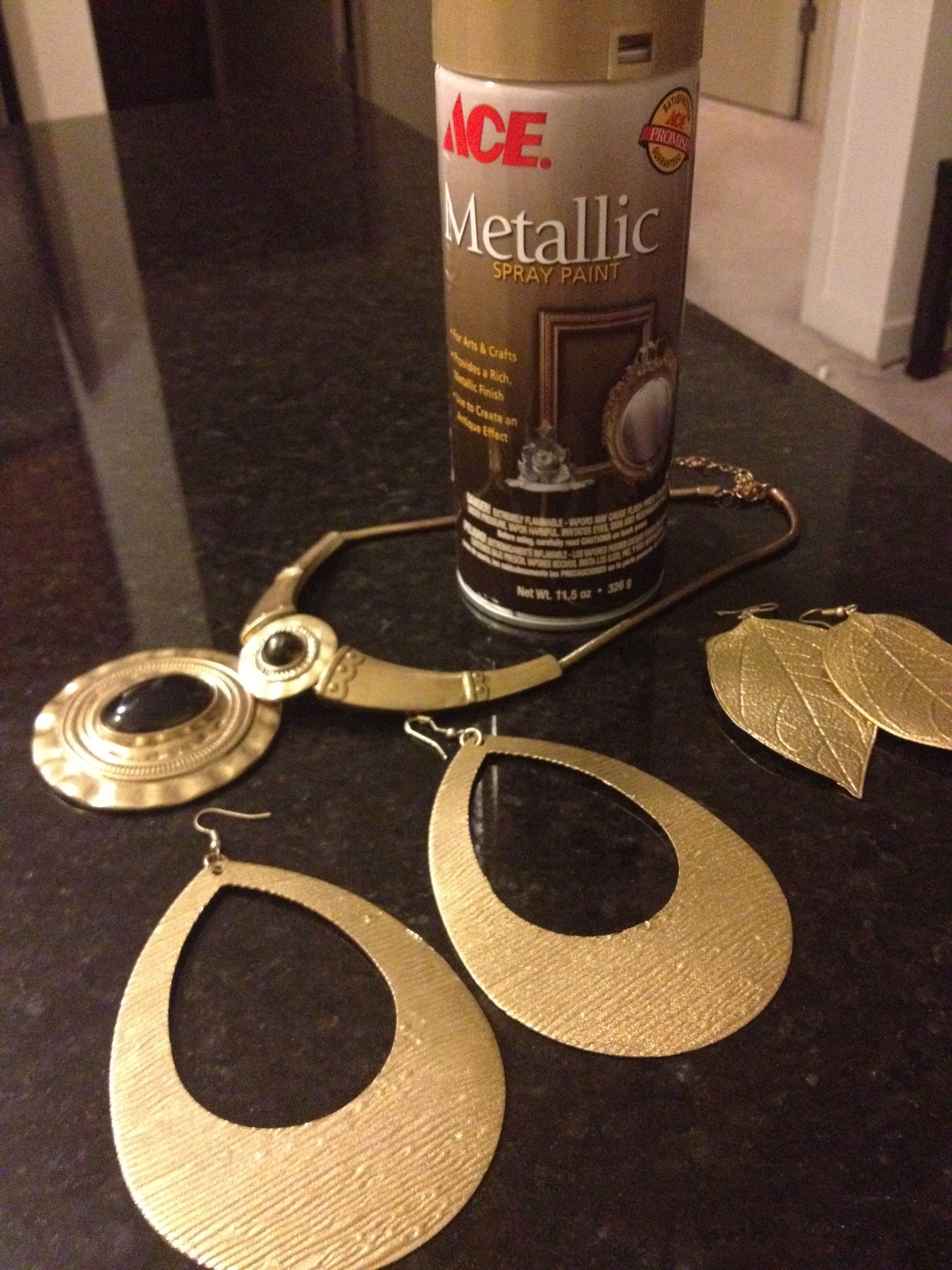Turn your old jewelry into new again with metallic spray paint