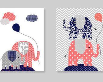 Elephant Nursery Art Grey and Pale Pink by SweetPeaNurseryArt