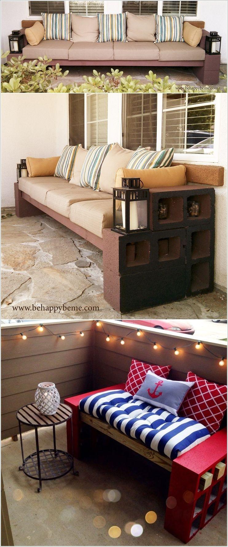 Diy cinder block bench idea decoração pinterest cinder block