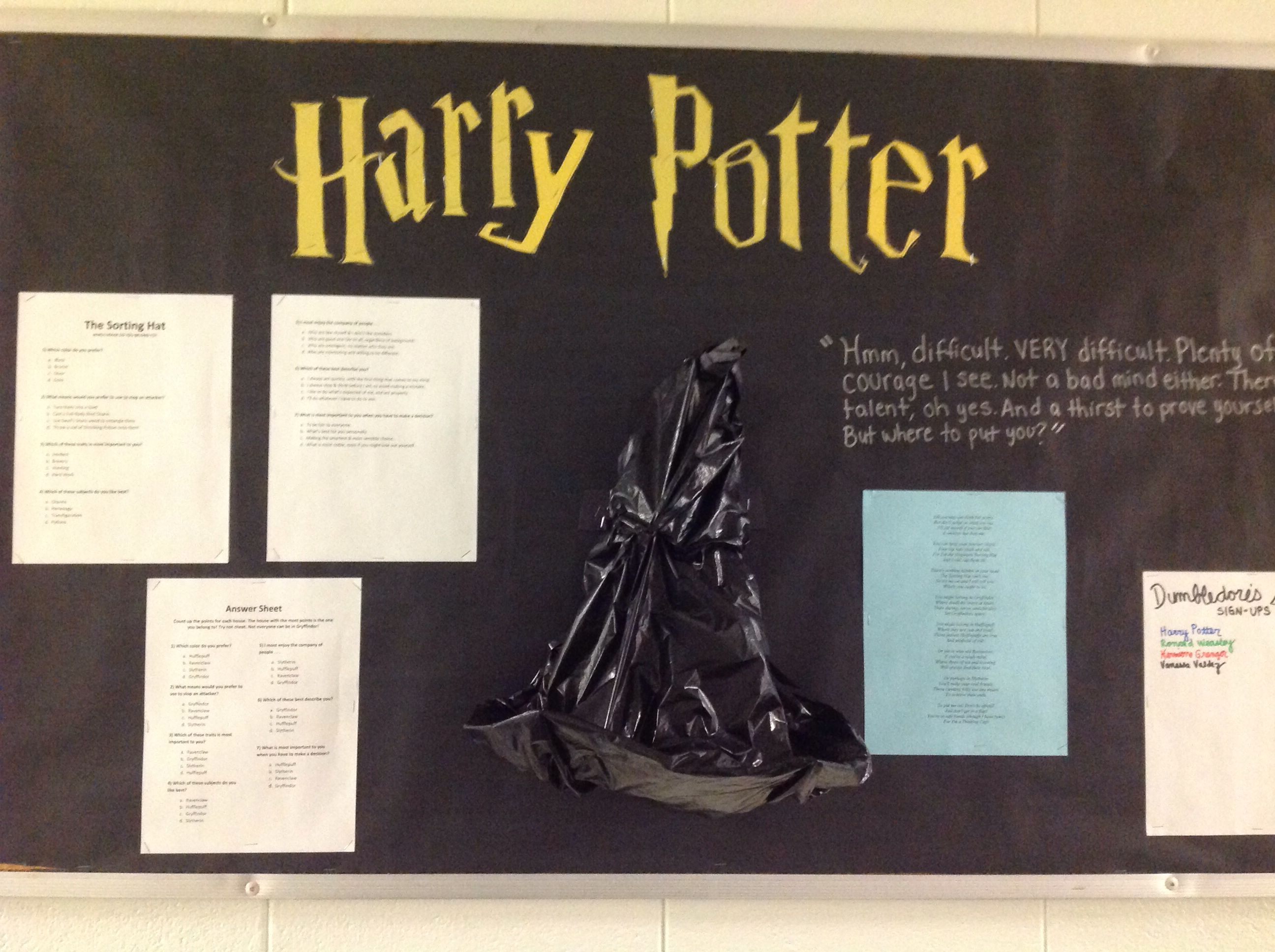 Harry Potter Bulletin Board Of Course Put Up A Quiz To Help Sort Them In Houses I Adde Harry Potter Classroom Harry Potter Bulletin Board Hogwarts Classrooms