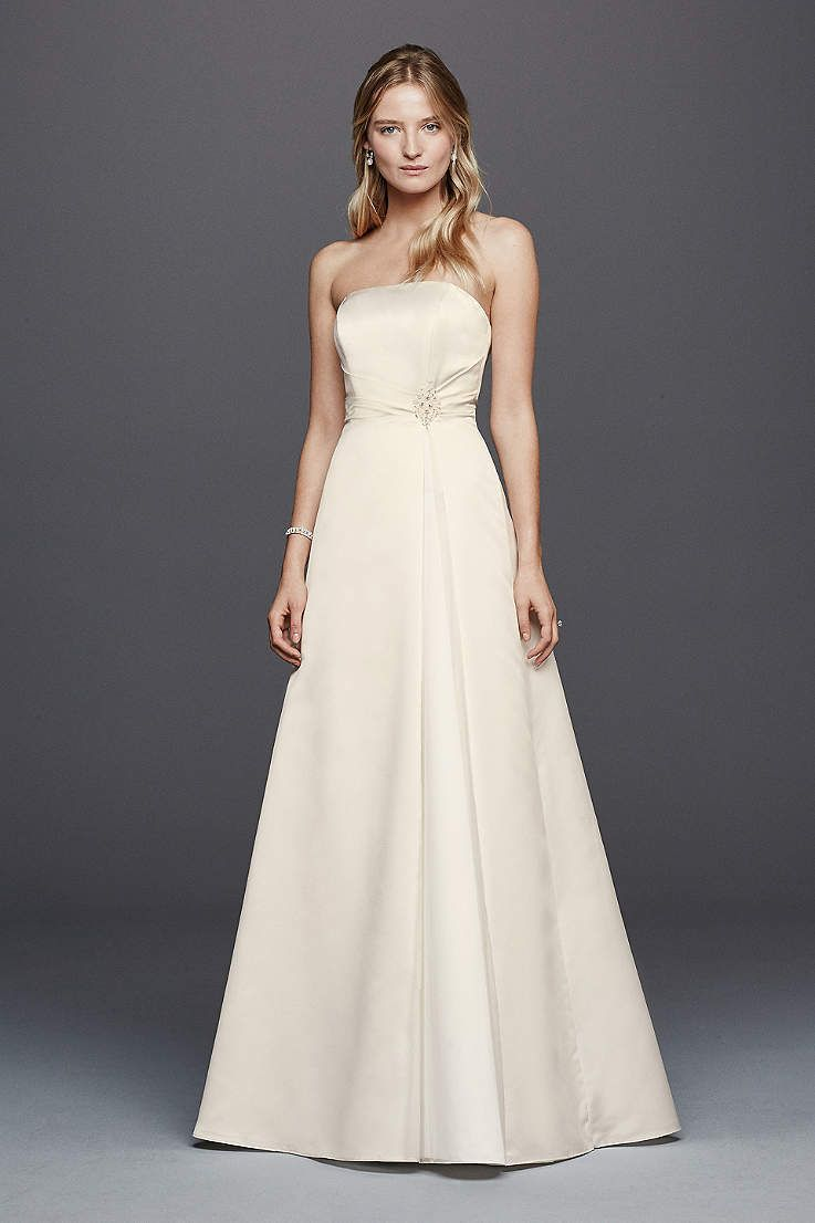 Long aline simple wedding dress davidus bridal collection
