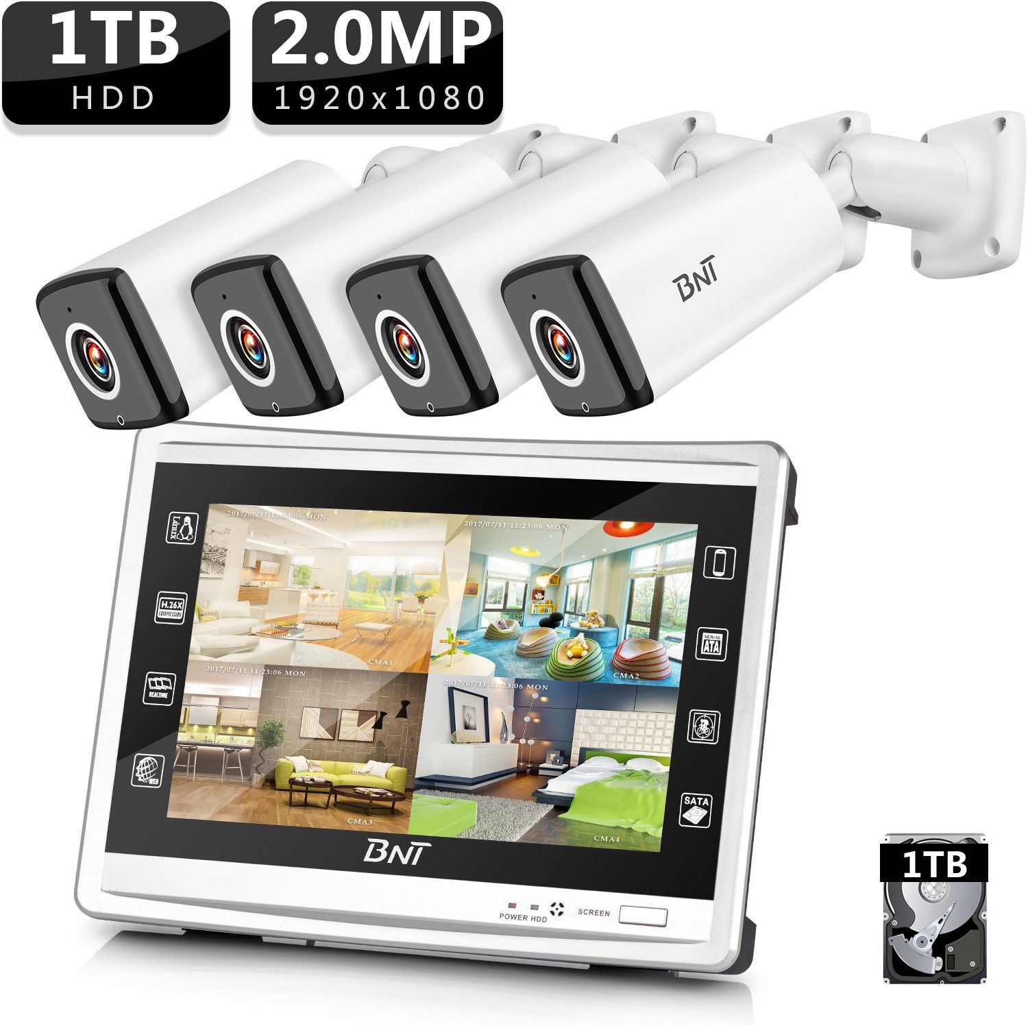 BNT 1080P Security Camera System with 4CH HD Monitor DVR + 4 AHD ...
