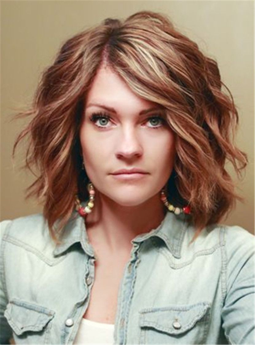 Short Wave Layered Side Swept Fringes Synthetic Lace Front Wigs 12 Inches Thick Hair Styles Haircut For Thick Hair Wavy Haircuts