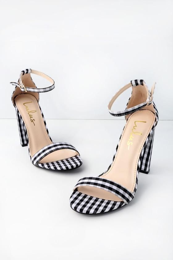 d81f9f5aa3a  Valentines  AdoreWe  Lulus -  Lulus Taylor Black Gingham Ankle Strap Heels  - Lulus - AdoreWe.com