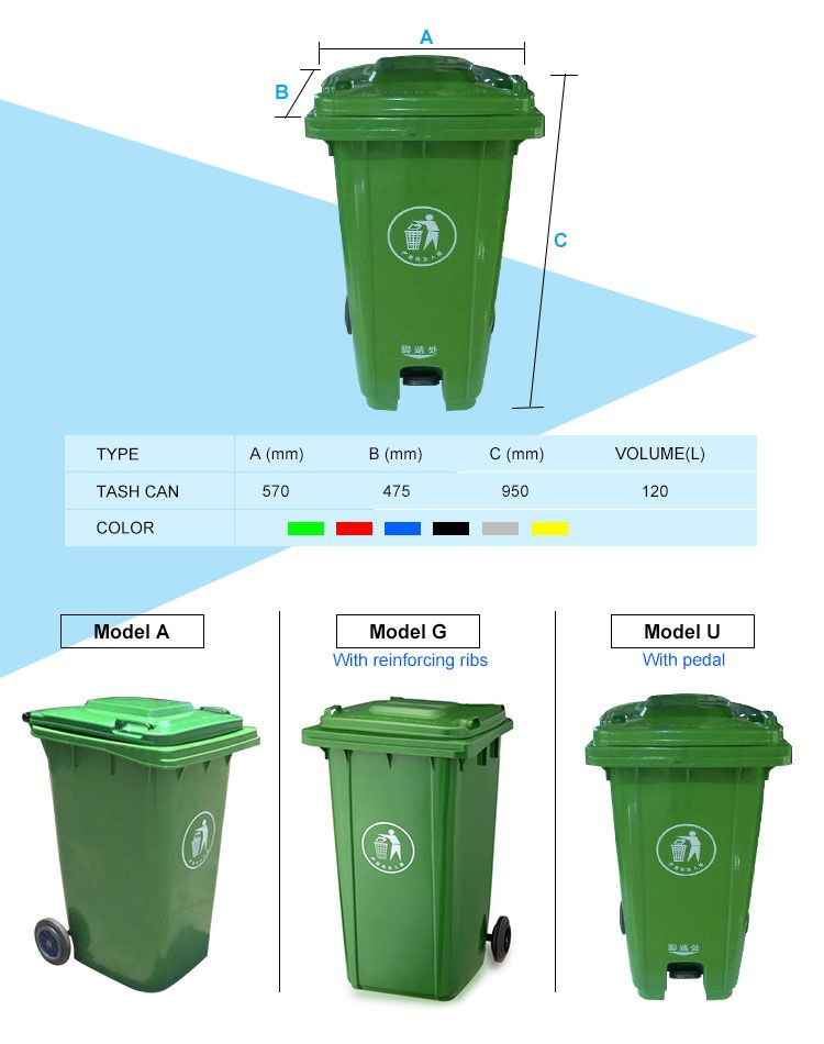 Wheeled Bin Medical 120 L 240l Plastic Waste Bin For Clinic Plastic Industry Waste Container Garbage Containers