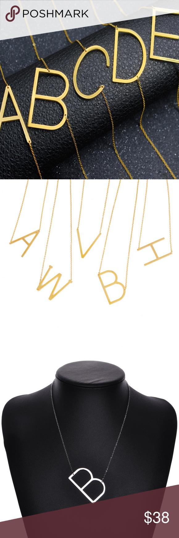 Monogram Gold Letter B Initial Pendant Necklace Initial Pendant Necklace Initial Pendant Silver Jewelry Fashion