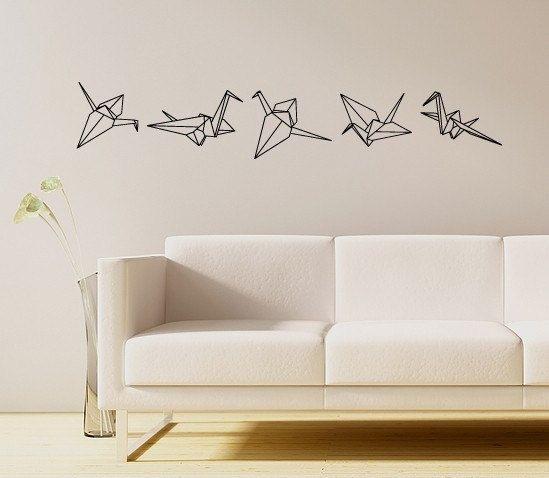 Origami-Kranich-Vinyl-Wandtattoo von RadRaspberry auf Etsy - wandtattoo wohnzimmer grun