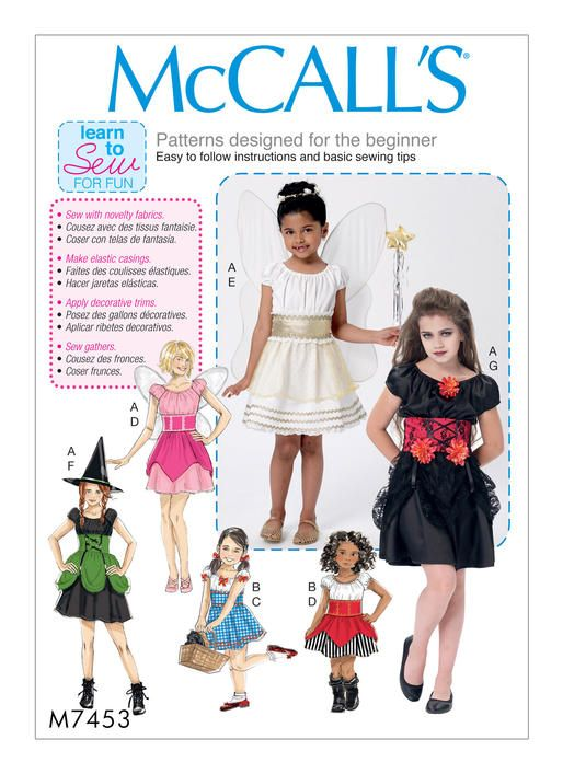 McCall's costume sewing pattern M7453 Children's/Girls' Fairy, Witch, Pirate, Angel and Character Costumes