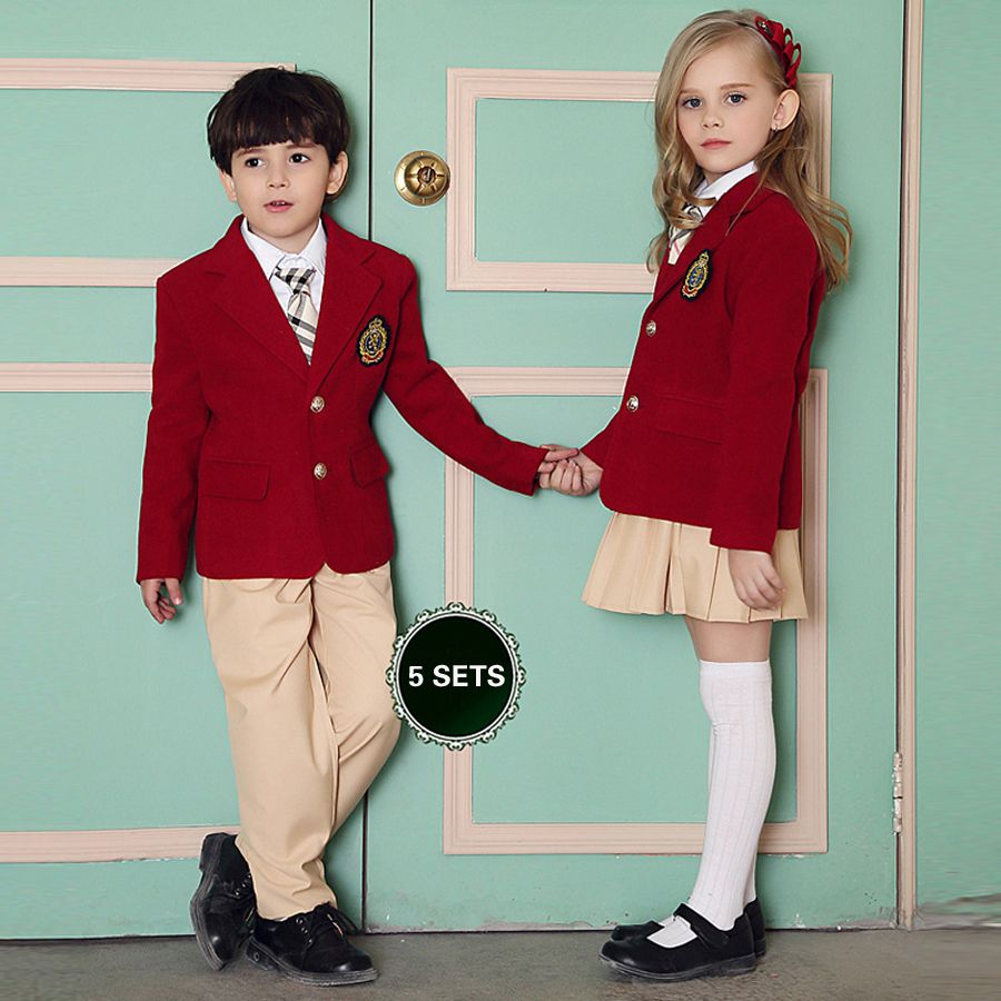 british  girls school uniform  British American Spring winter school uniform for girls&boys kids jacket  skirt baby girl clothes children clothing
