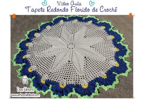 Artes Da Desi Tapete Redondo Florido De Crochê Croché Tapete