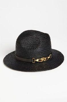 32c4cd895bee70 Rachel Zoe Woven Fedora Black/ Gold One Size on shopstyle.com ...