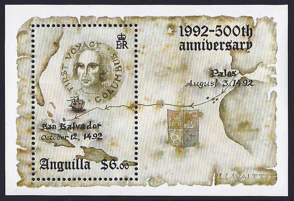 Anguilla Scott #866 (15 Dec 1992) Souvenir Sheet showing map of first voyage of Christopher Columbus to the New World, portrait of Christopher Columbus, sailing ship and Columbus' Coat of Arms.