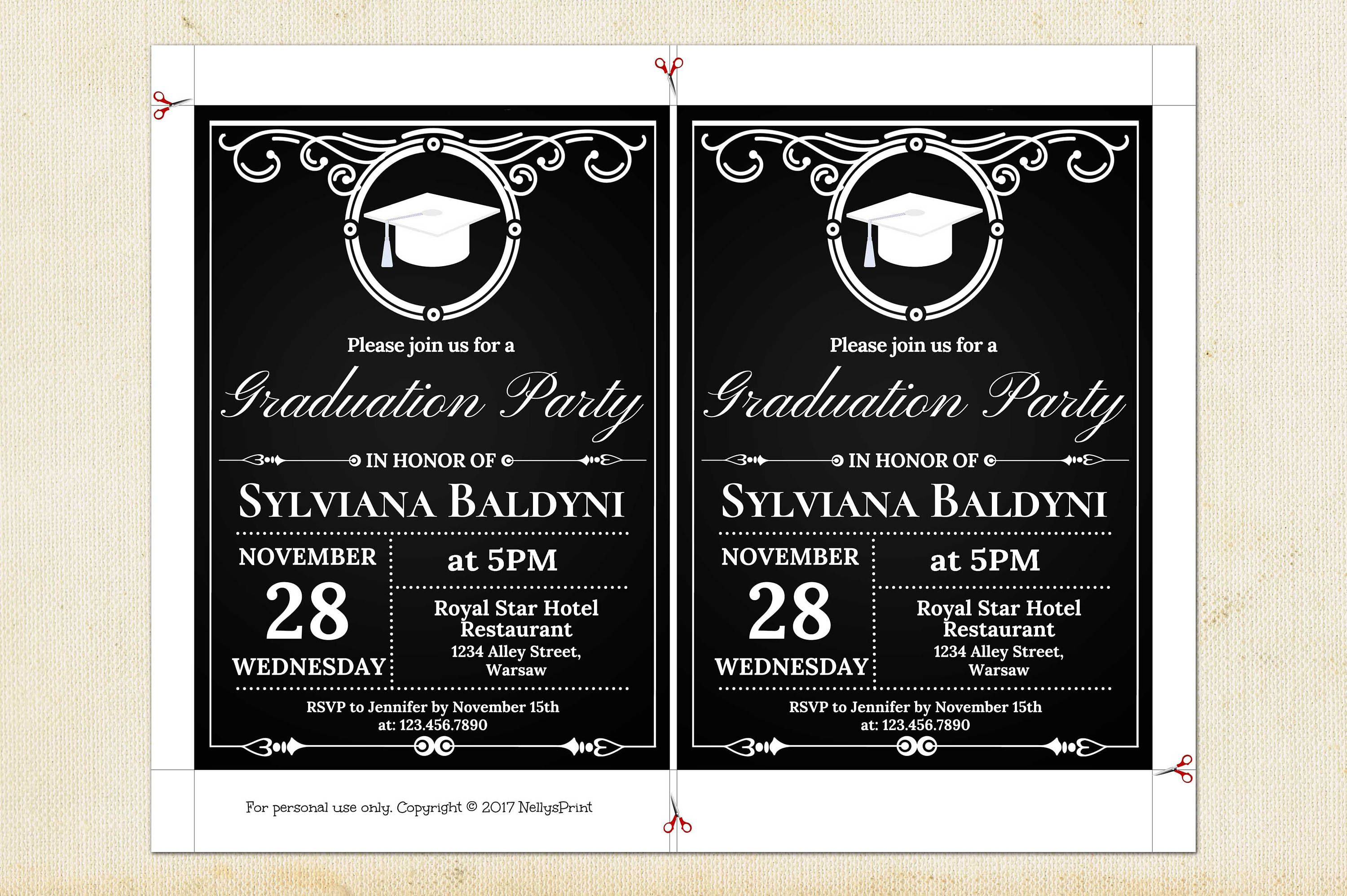 Graduation Party Invitation, Graduation Invitation Template, College ...