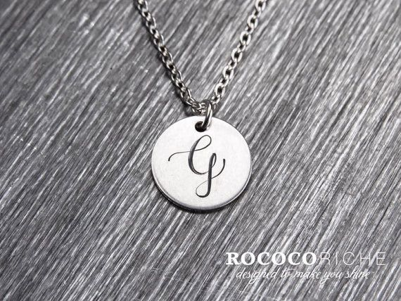 Personalized Charm Necklace Sterling Silver Charm by RococoRiche